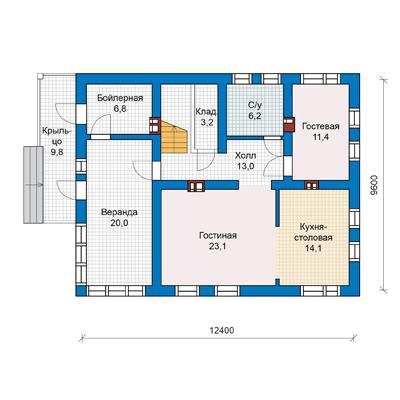 План дома (один этаж) с мансардой