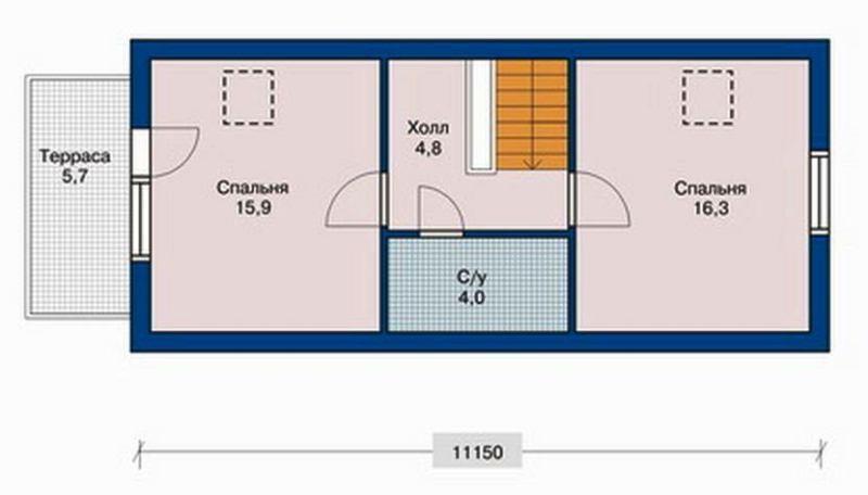 Чертеж одноэтажного дома на две спальни