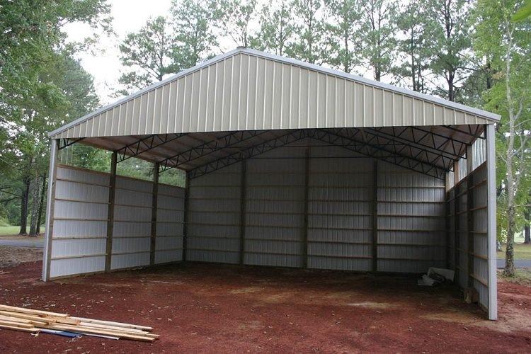 Пример гаража из профнастила