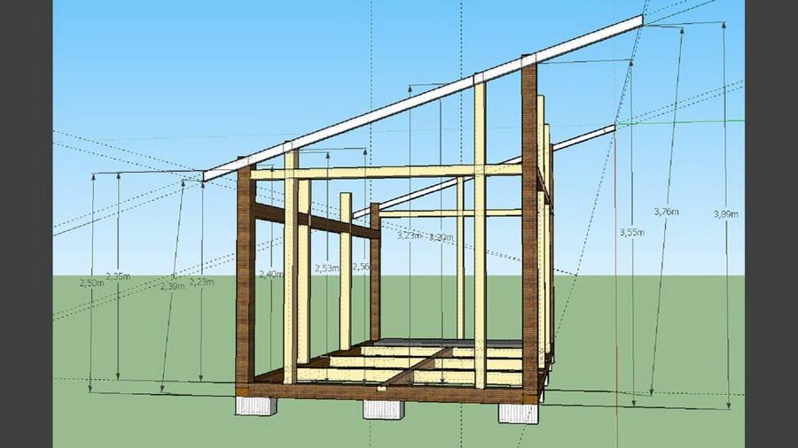 Cтроительство беседки с односкатной крышей