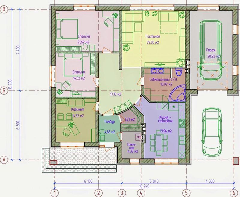 Пример планировки просторного одноэтажного здания