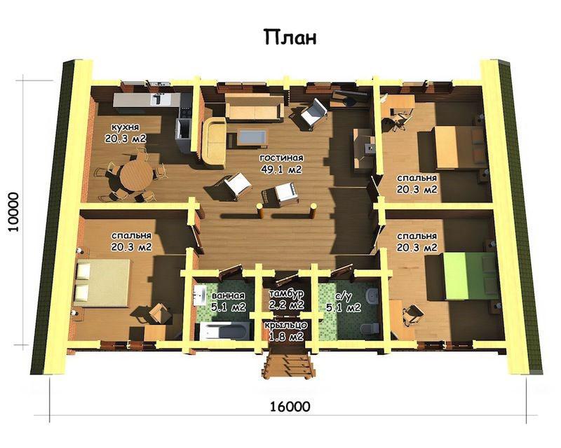 Разработка типового проекта дома габаритами 10 х 16 метров