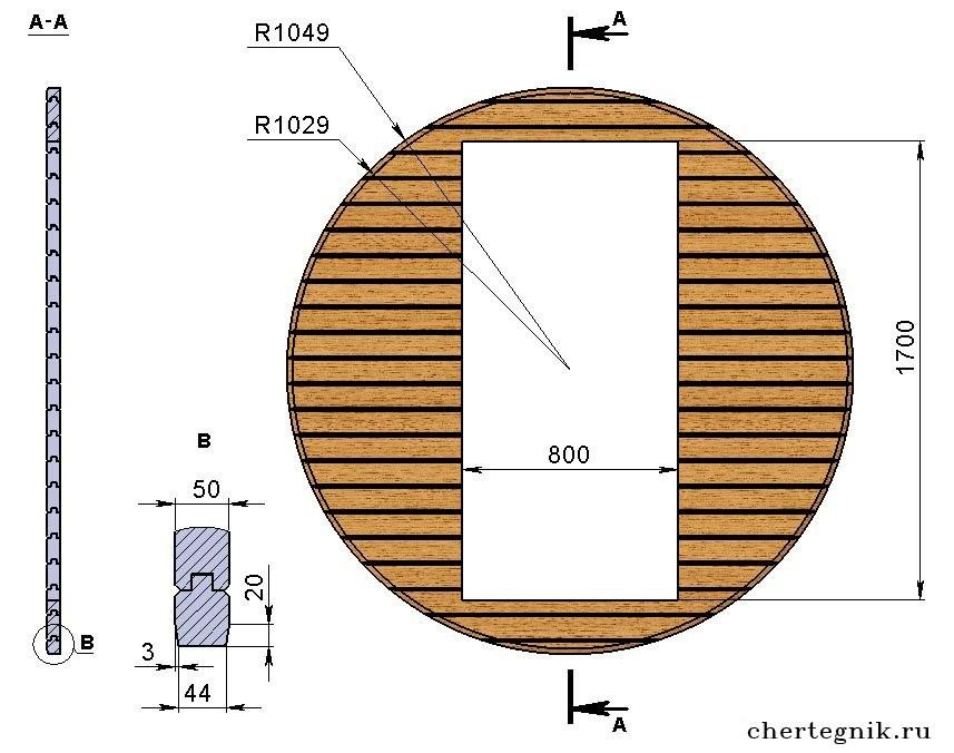 Схема расположения дверного проема для бани