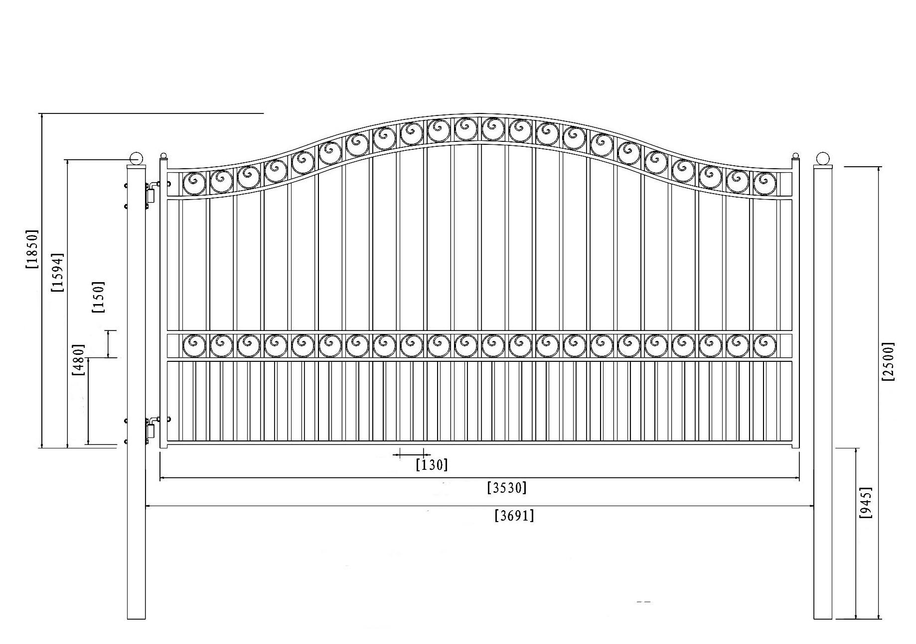 Пример чертежа распашных ворот