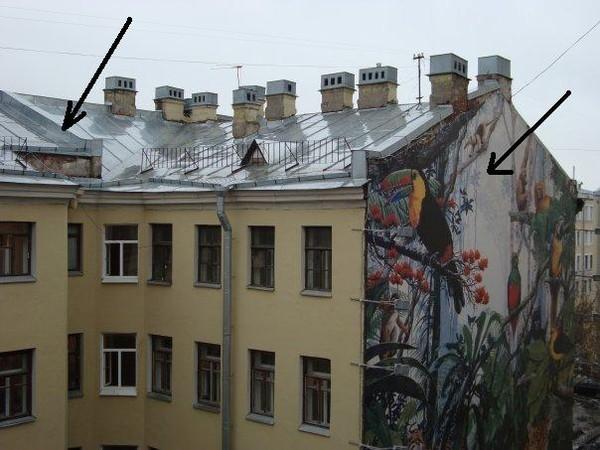 Пример противопожарной стены на здании