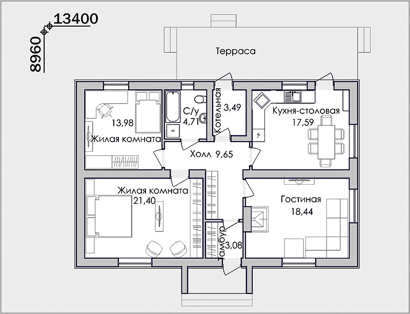 Трамвайный типовой проект дома в один этаж