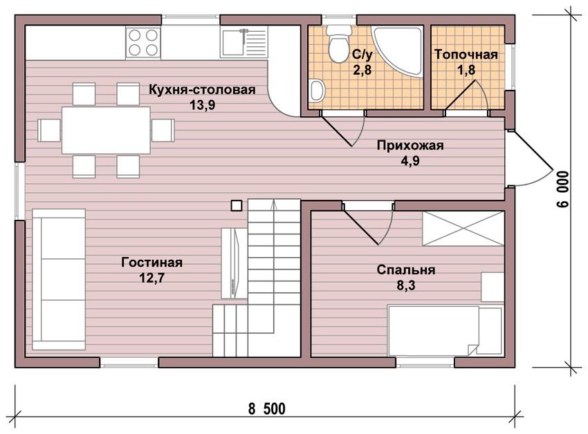 Подробная схема планировки дома