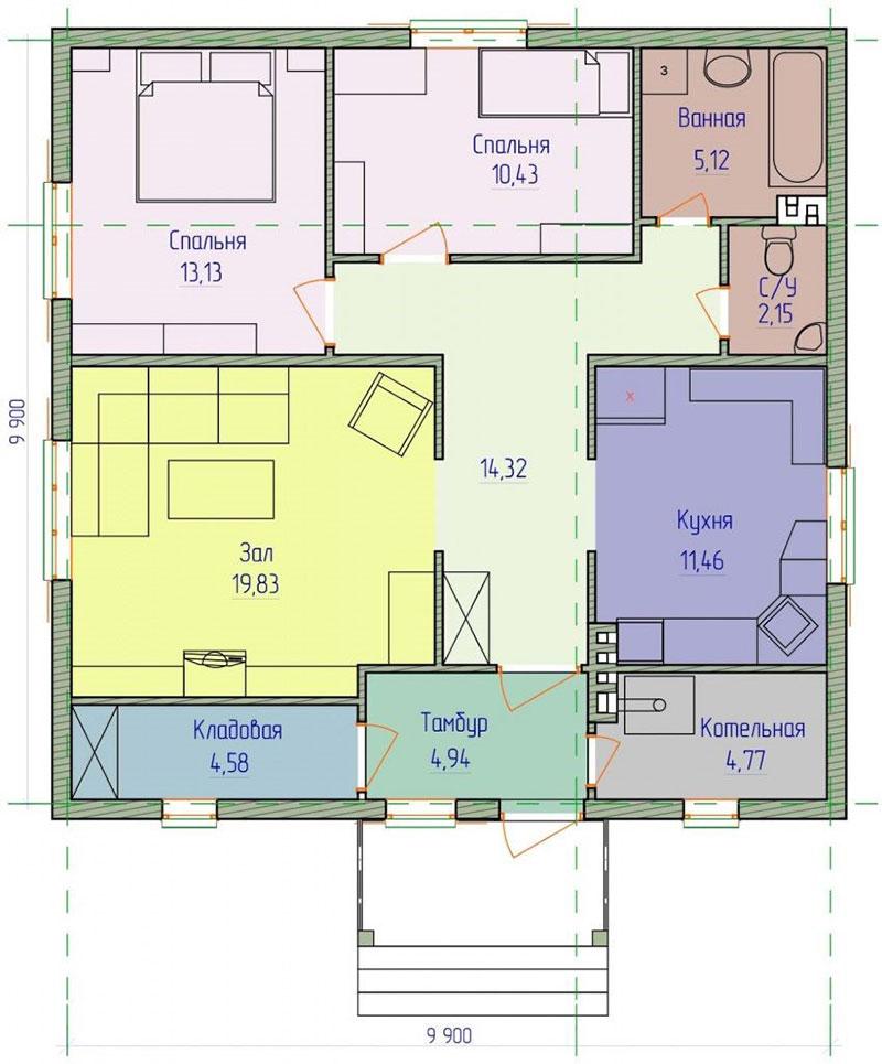 Одноэтажный дом –типовой проект 10 х 10 метров