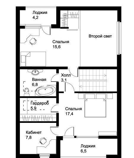 Планировка просторного одноэтажного дома с лоджией