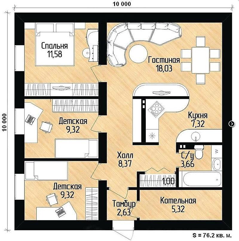 Пример планировки одноэтажного дома 10 х 10 м