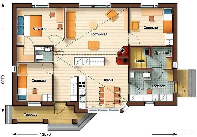 Проект дома с сауной размером 9 х 13 метров
