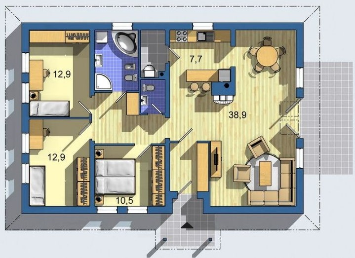 План небольшого, но просторного дома