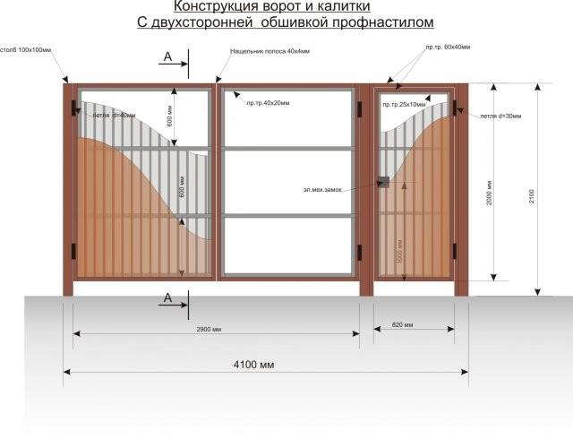 Конструкция распашных ворот с калиткой