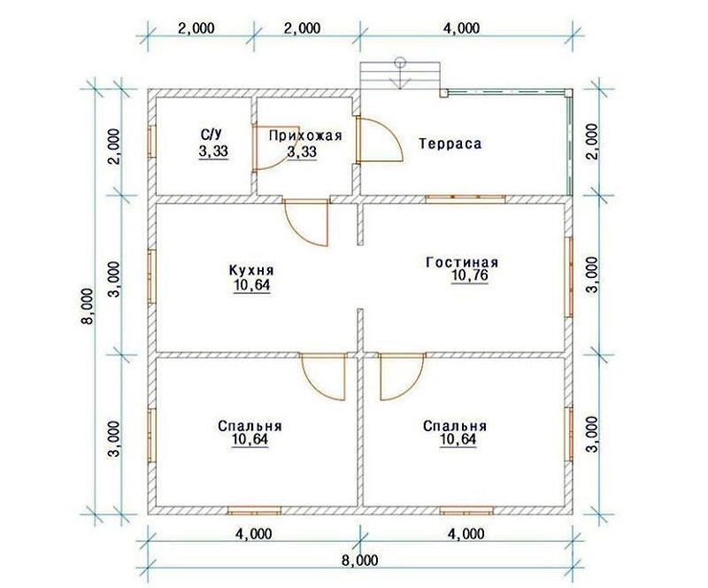 Разработка планировки жилого дома из пеноблоков размером 8 х 8 метров
