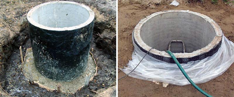 Гидроизоляция самодельного септика из бетонных колец