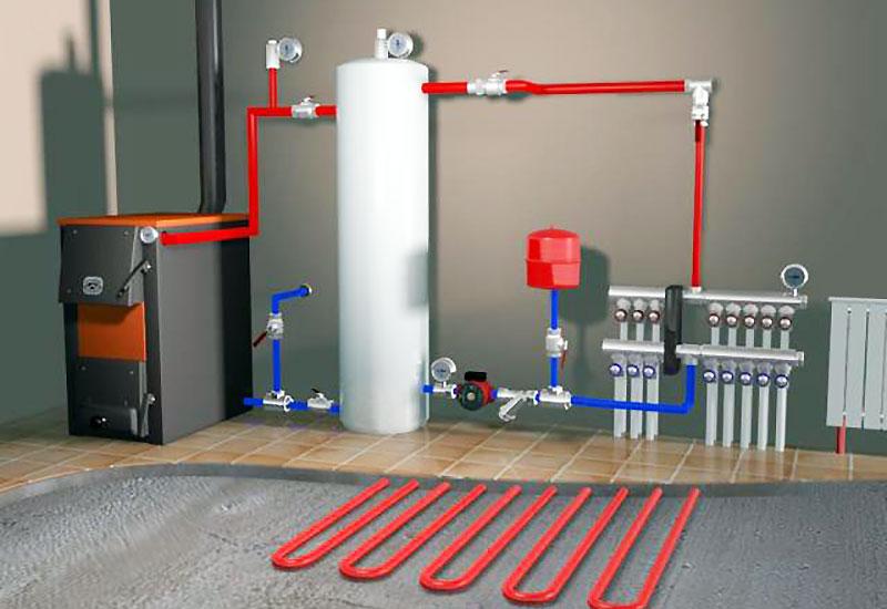 Коллекторная схема комбинированной отопительной системы в доме