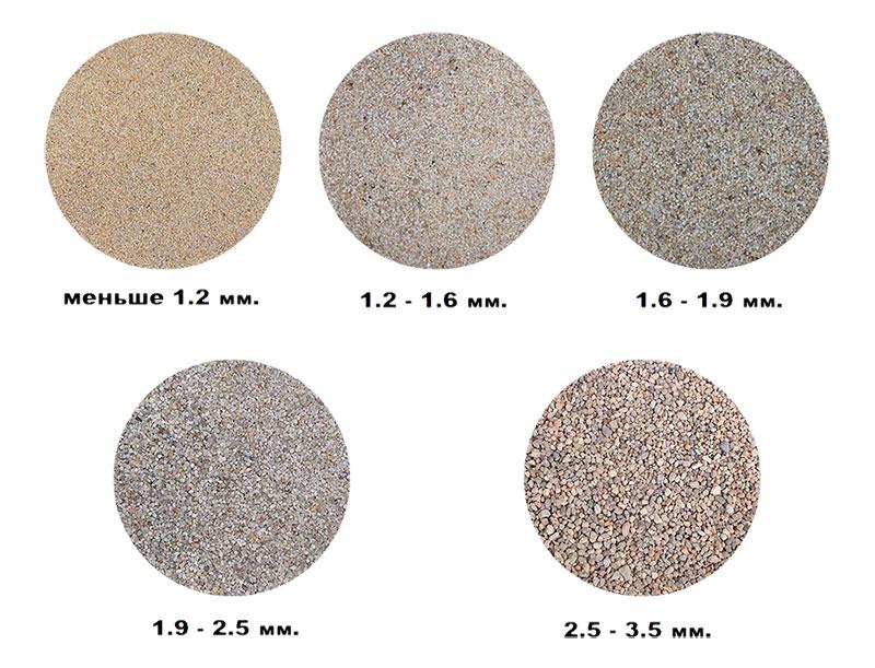 Разные фракции песка