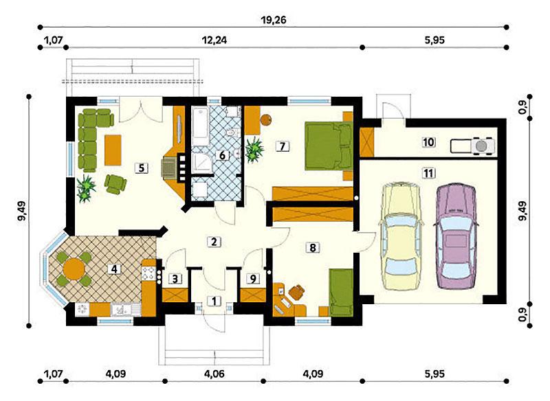 Проект одноэтажного коттеджа с гаражом на два автомобиля