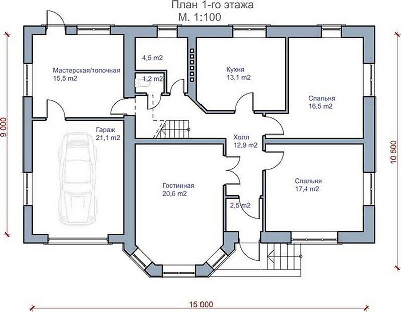 Проект дома с гаражом на один автомобиль