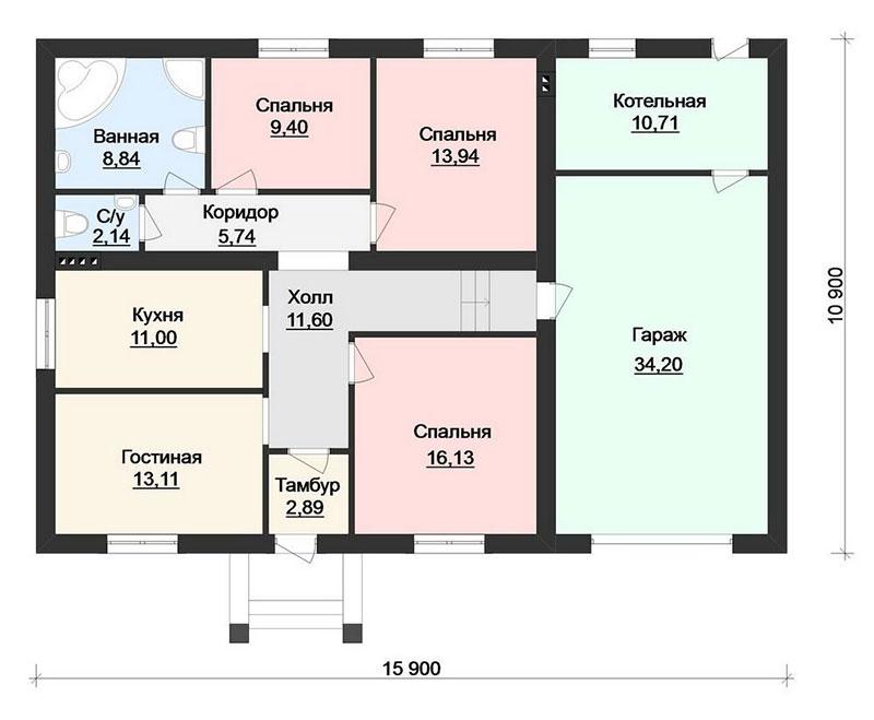 Типовой проект дома с гаражом