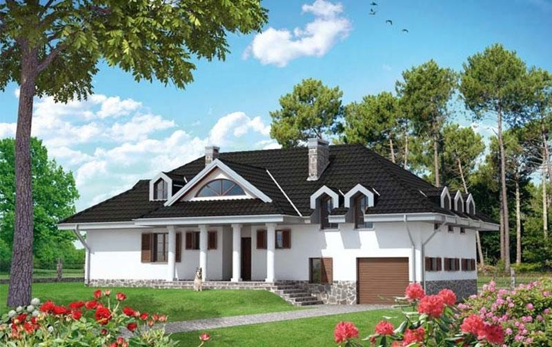 Проект дома и гаража на разных уровнях