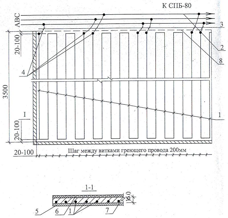 Схема подключения греющего провода ПНСВ
