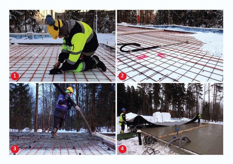 Процесс укладки греющего провода в бетонную смесь