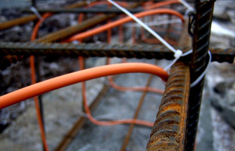 Крепление греющего провода к арматуре каркаса
