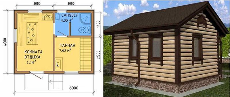 Простой проект каркасной бани размером 4 х 6 метров