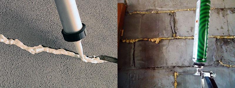 Заделка трещины монтажной пеной или герметиком