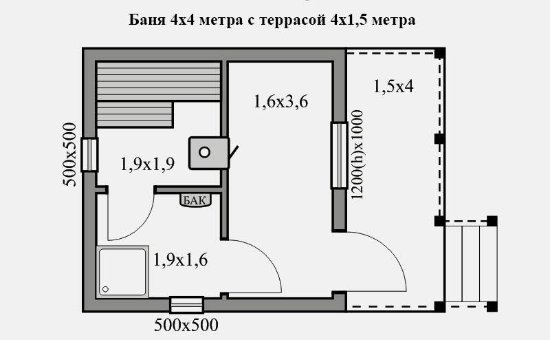 Баня размером 4 х 4 м с террасой размером 4 х 1,5 м