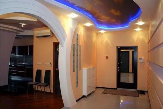 Эффектный способ зонирования пространства – арка из гипсокартона