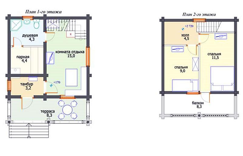 Проект двухэтажного гостевого дома с баней