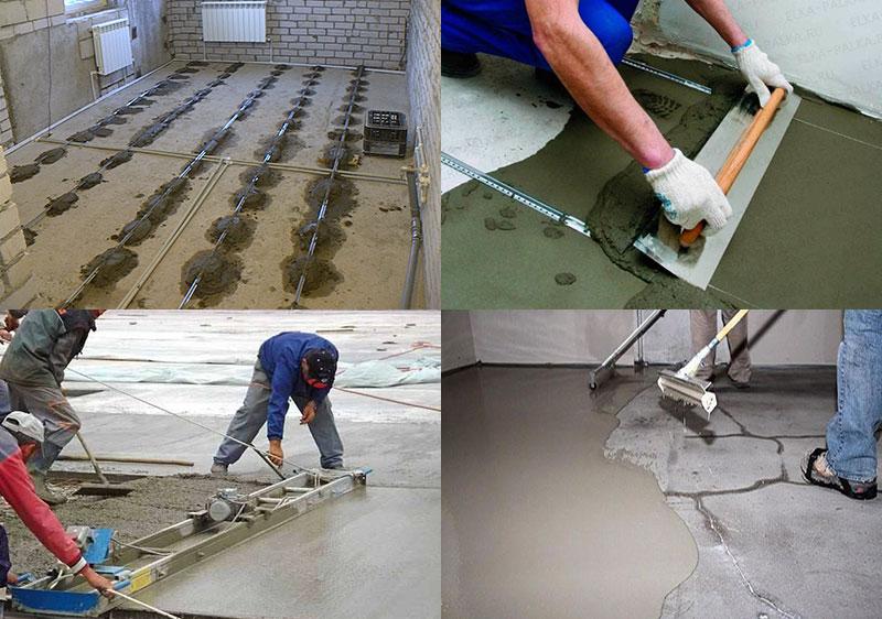 Процесс заливки и выравнивания бетонного раствора