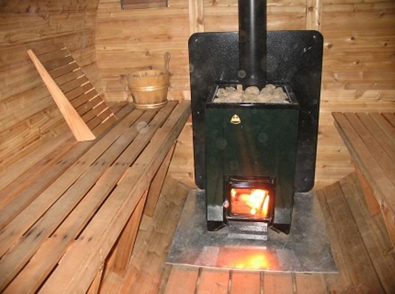Металлическая печь для мини-бани с каменкой