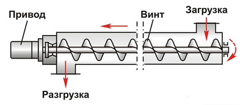 Устройство шнекового транспортера