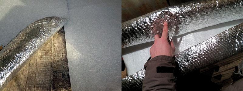 Утепление потолка при помощи фольгоизолона