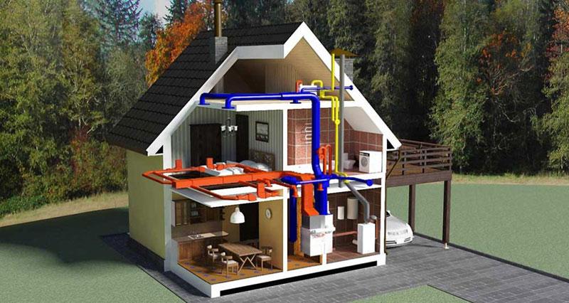 Дачное отопление в 3-Д проекте
