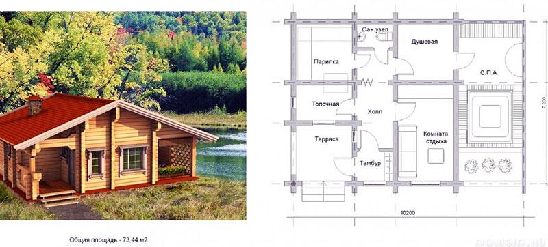 Одноэтажная баня со СПА