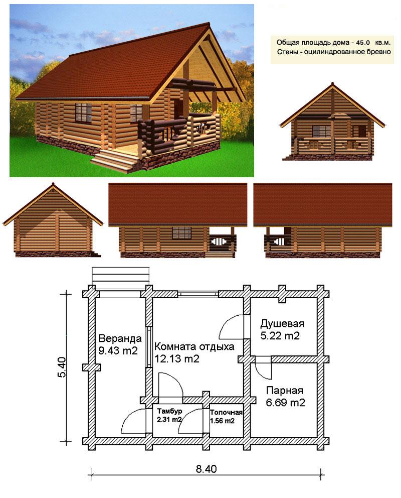 Типовой проект деревянной бани
