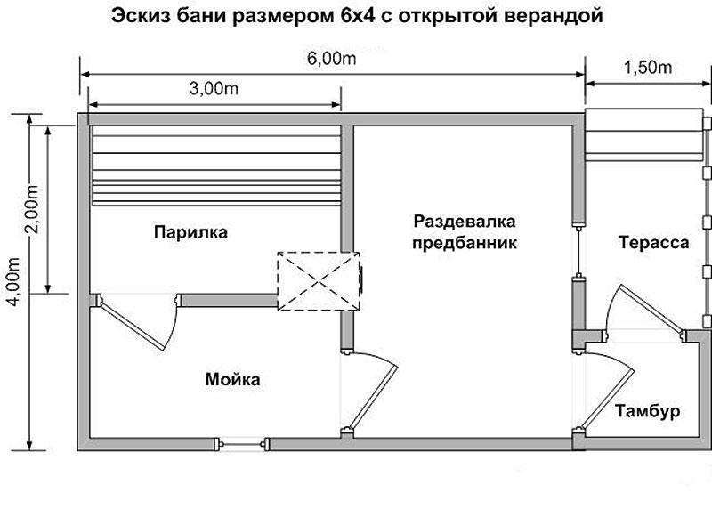 Баня с верандой