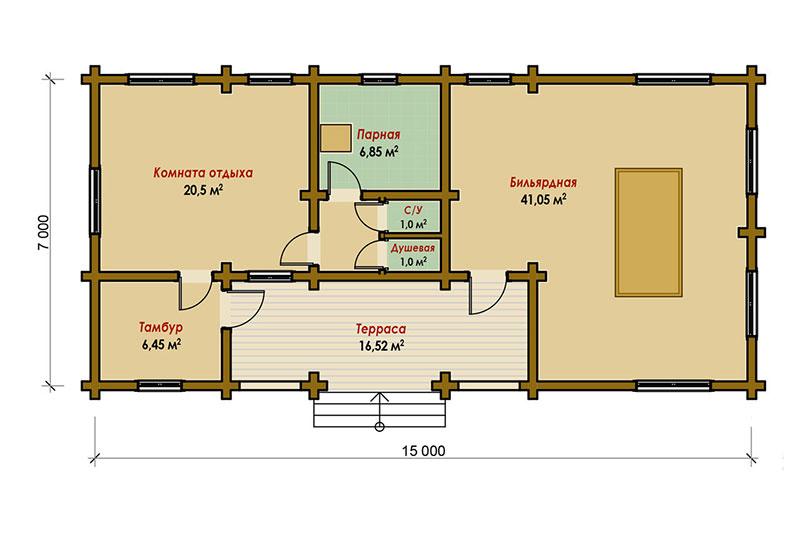 Проект большой одноэтажной бани