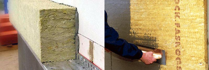 Укладка плит базальтовой ваты на штукатурку и наружное оштукатуривание плит