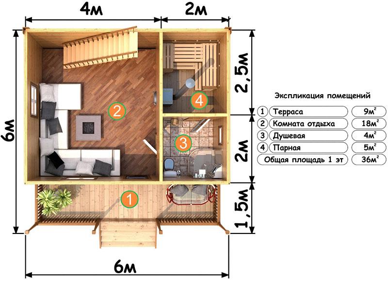 Пример планировки бани 6 х 6 метров с отдельной комнатой отдыха