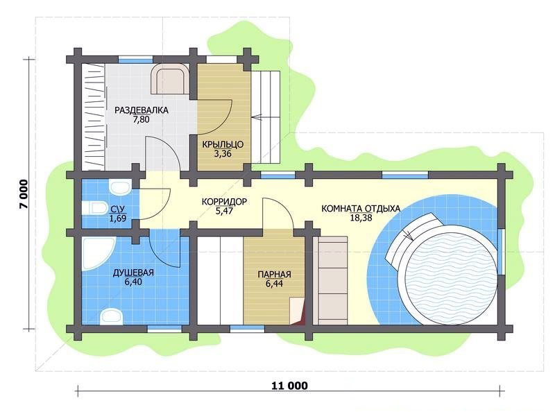 Планировка бани 7 х 11 с отдельным бассейном