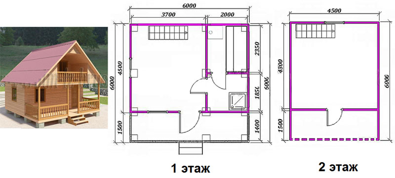 Двухэтажная баня 6 × 6 метров
