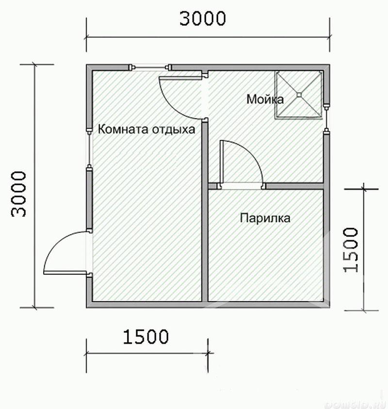 Эконом-проект бани из бруса 3 х 3 м