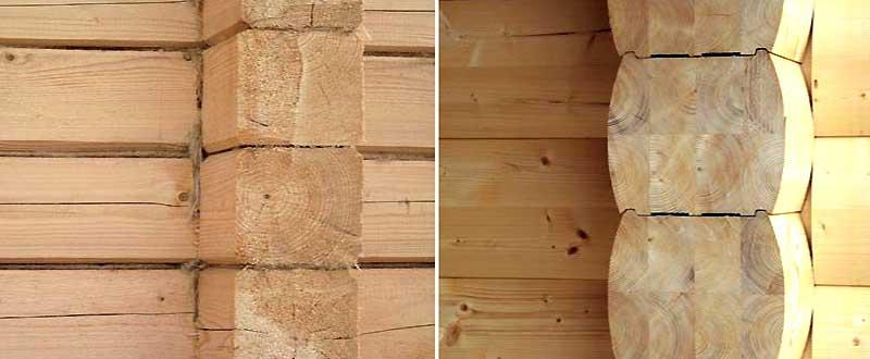 Конопатка цельного бруса и стена из профилированного пиломатериала