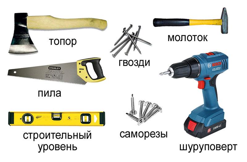 Инструмент для строительства дома из бруса