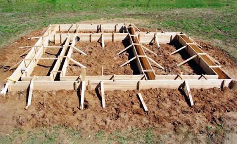 Строительство опалубки под фундамент